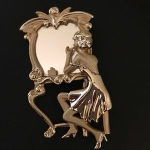 Jewelry - Vintage 80's Brooch Lady at Vanity with mirror